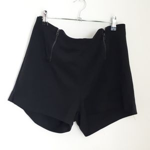 WDG Black Fashion Front Zip Shorts
